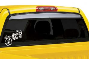 One Life Live It Hibiscus Flower Sticker Decal VW  - Small